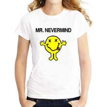 New Summer Women Tops Funny Cartoon MR Nevermind Happy expression Printed Nirvana T Shirt Women Clothing
