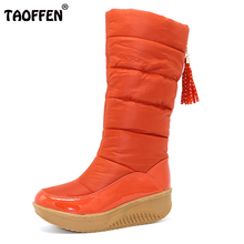 TAOFFEN Lady Winter Warm Snow Boots Platform Fur Cotton Shoes Flat Heels Knee High Boots Women Pu Leather Boots Size35-40(China)