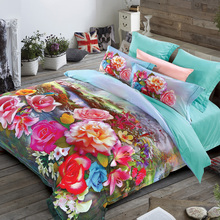 Luxurious 3D bedding set green 60S Cotton fabric 500TC Quilt cover bedsheet pillowcase 4pcs bedcover king queen size