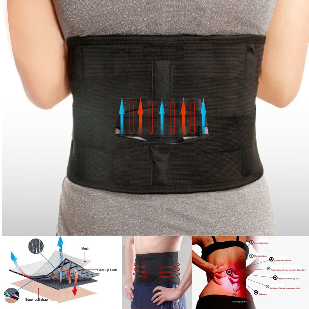 New Lumbar Support Brace Hot Sale Fashion Breathable Mesh Four Steels Plate Protection Back Waist Support Belt(China)
