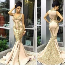 ANTI Luxury Champagne 2016 Evening Dress Mermaid Appliques Arabic Muslim Formal Gowns For Wedding Party Celebrity Guest Dress