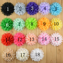 20pcs/lot 3.9'' Alternative Chiffon Hair Flowers For Kids Headbands Flowers WITHOUT Clips Girls Hair Accessories H133(China)