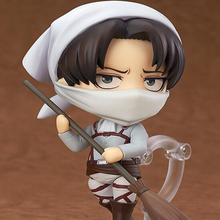 Q Ver. 417#  Anime  Attack on Titan Nendoroid figure Rival Ackerman mobile cleaner toy cartoon Action figures PVC 10CM T7022