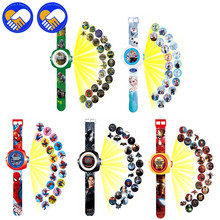A TOY A DREAM Super Heroes Iron Man,Spiderman,Batman 20 Styles Projector Watch Toys for Kid Slide Watchband Digital electric Toy(China)