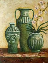 Hand Painted Still Life Oil Painting antique bottle porcelain and flower Home Decoration Wall Art Drop Shipping(China)