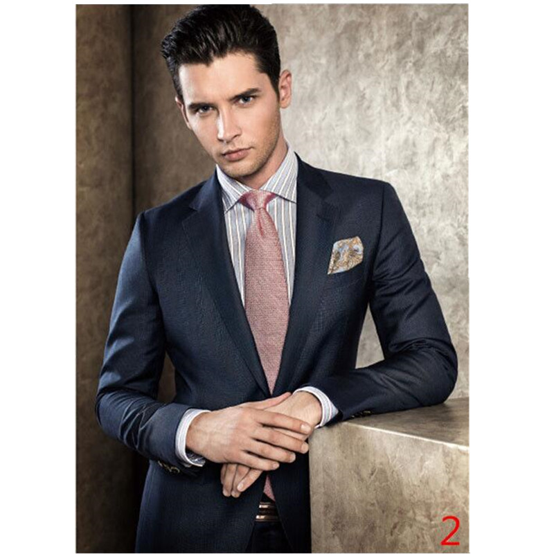 Fashion high-quality men's suit black lapel single-breasted men's ball gown and groom dress (jacket + pants) custom made