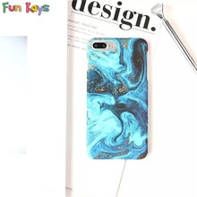 Fun Kays Blue Sea Ocean Sumi Gold Powder Painting Cool Punk Luxury Matte Hard Slim Protective Shell Thin Phone Case Shell(China)