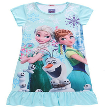 2015 New Children's clothes Anna Elsa Puff Sleeve dress girls dresses Cartoon Short sleeve Printed nightdress Multicolor free(China)
