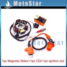 Moped Magneto Stator 6 Poles Racing Ignition Coil 6 Pins AC CDI Box A7TC Spark Plug For Chinese GY6 49cc 50cc Engine Scooter