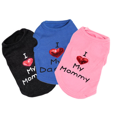 Spring Pet Dog Coat Small Puppy Clothes Cat Vest Casual Outfit T-shirts Warm Hoodies Love Mommy Pet Apparel Ropa de Perro 35