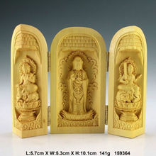 Exquisite Oriental Vintage Boxwood Handwork Carved Kwan-yin Statue Amulet Box(China)