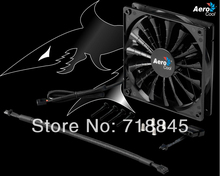 Wholesale Black color Aerocool 12V 4Pin 3Pin 140mm x 25mm 14025 Cool Fashion 15 Shark fin leaves Mute PC Case System Cooling Fan
