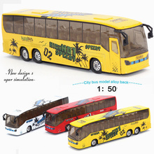 1:50 alloy model bus metal diecasts toy vehicles pull back & flashing & musical high simulation tourist bus Christmas Gift(China)