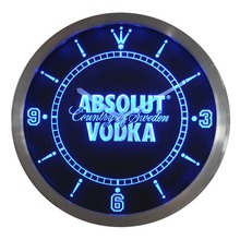 nc0475 Absolut Vodka Neon Sign LED Wall Clock