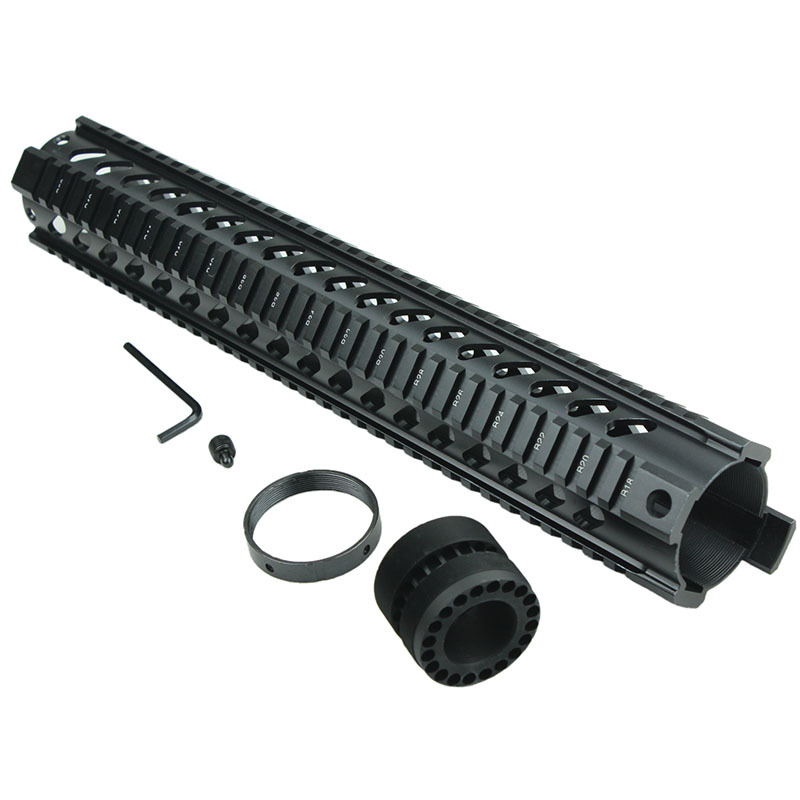 Funpowerland free shipping Tactical T-Serie 4/15 Free Float 15 Inch Waist hole Handguard Quad Rail Scope Mount<br>
