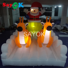 7m Long Christmas Inflatable Santa Claus in Sleigh with Reindeer Yard Decoration(China)