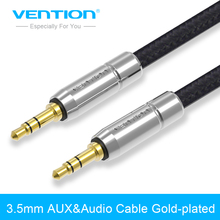 Vention Jack 3.5 AUX Cable Gold-Plated 3.5mm Male to Male Metal Nylon Braid Stereo Audio Cable for Car iPhone MP3/MP4 Headphone(China)