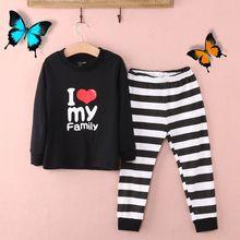 Милые хлопковые пижамы <u>комплект</u> для малышей и детей постарше для мальчиков и девочек с принтом с героями мультфильмов пижамы комплект одежды для сна(China)