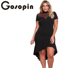 Gosopin Summer Dress XXXL Ruffled Work Office Dress Plus Size Black Sexy Club Dresses Womens Large Sizes Hollow Out Blue LC61661(China)