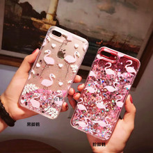 South Korea Cute Pink Flamingo Liquid Case for IPhone7 Plus 7 6 6s 6plus Full Protective Cover Soft Edge Freeshipping(China)