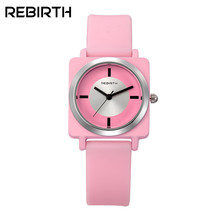New REBIRTH Top Brand Luxury Women Watches Ladies Clock Female Rubber Strap Jelly Casual Clocks Bracelet Dress Quartz Watch 060(China)