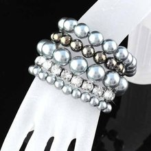 Women Strechable bangles Handmade imitation Pearl Bracelet with shiny rhinestones multi layer Design cuff bracelet ,BR-961