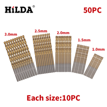 HILDA 50Pc Twist Drill Bit Set HSS High Speed Steel Titanium Coated Drill Woodworking Wood Tool 1/1.5/2/2.5/3mm For Metal