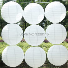10pcs/lot  16 inch(40cm) Chinese  Round White Paper Lanterns lamps for Wedding Party Home Decoration oliday party supplies
