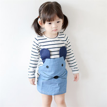 2017 Spring Summer Girl Dress Children Girls's Clothing Set Spring Long Sleeve Party Striped White Blue Princess Dress