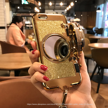 Case For Iphone 6 6s 7 7plus glitter soft tpu Case with Lanyard Back Cover Fundas Korea Luxury 3D Retro Camera Mirror Phone(China)