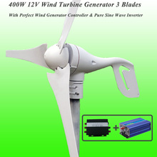 Great Discount 3 Blades 400W 12V Wind Turbine Generator With Perfect Wind Generator Controller & 600W Pure Sine Wave Inverter