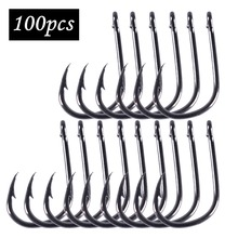 Anmuka 100Pcs fishing hooks(GF) #3-#12 High carbon steel CarbonBlack Bait Holder Fish Hook Set High quality barbed(China)