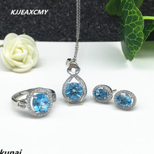 KJJEAXCMY Fine jewelry, Multicolored jewelry inlaid with 925 silver female models natural blue topaz set simple wholesale