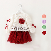 New Autmn-Spring Girls' Lace Dresses New Lace Smock+Long Sleeve Mesh Dress 2pcs Clothing Sets Baby Kids Vestidos