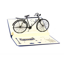 S-home 3D Pop Up Handmade Cards Bicycle Halloween Happy Birthday Thank You Christmas APR5(China)