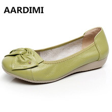 AARDIMI Genuine Leather Shoes Women Solid Loafers Women Flats Ballet Spring Summer Flat Shoes Woman Moccasins Factory Outlet