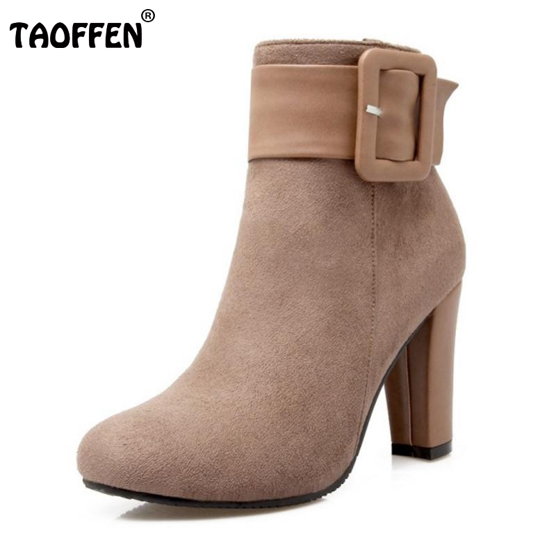 Fashion Sexy Women Shoes Thick High Heel Buckle Knight Ankle Boots Zip Bootie Autumn Winter Ladies Shoes Footwear Size 31-43<br><br>Aliexpress