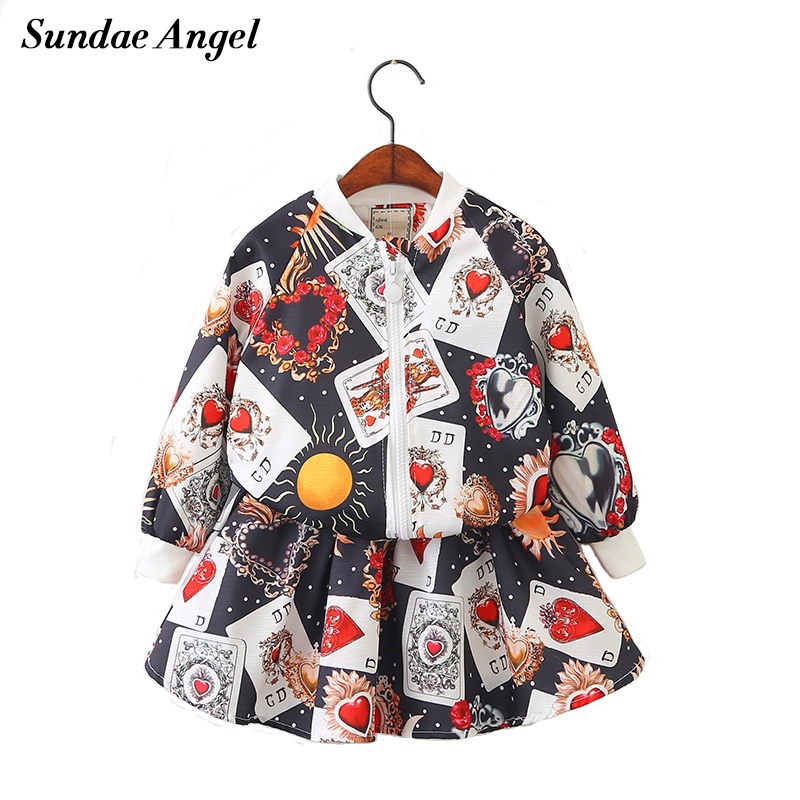 Sundae Angel Girl suit skirt Long Sleeve V-Neck Zipper 2Pices Girls Jacket Coat with Short Dress Set Print Conch Pattern 3-8 Y<br>