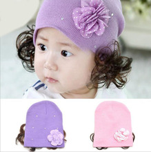 1 Piece Winter Hot Sale New Hat Fashion Cute Wig Flower Hair Children Baby Kids Cap Floral Warm Knitted