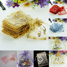 25pcs Jewellery Pouches Heart Packing Organza Gift Candy Bag Wedding Party 7X9cm