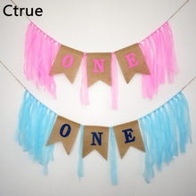 1set ONE Banner flags party garland with lace baby shower bunting boy First birthday party decorations kids flag 1st Party Decor(China)