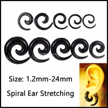 Lot of 2pcs Acrylic Black&White Spiral Ear Stretching Taper Piercing Ear Expander Plugs Body Fashion Jewelry 1.2mm-24mm(China)