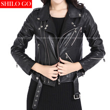 Plus size fashion women high quality Sheep leather lapel metal buckle rivet zipper belt black shenzhen genuine leather jacket