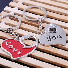 Wholesale 10 pair love heart couples Valentine day lover Keychain Key Chain The wedding gift Keyring Key Fob for women men girl