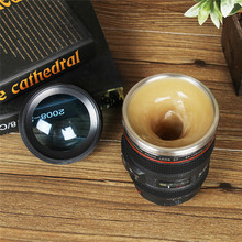 Camera Lens Shape Cup Plastic Coffee Tea Travel Cup Stainless Steel Vacuum Flask Tea Cup Automatic Electric Lazy Self Stirring D