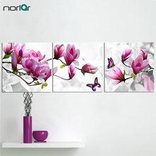 3 Pieces purple pink Magnolia Flowers With Butterfly Painting Modern Giclee Unframed Artwork Canvas Print Wall Art Paintings