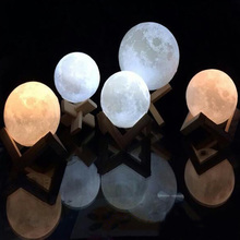 1pc Full Moonlight 3D USB LED Night Light Table Desk Lamp Bedroom Decor Party Wedding Birthday Gift 8cm 10cm 12cm 15cm 18cm
