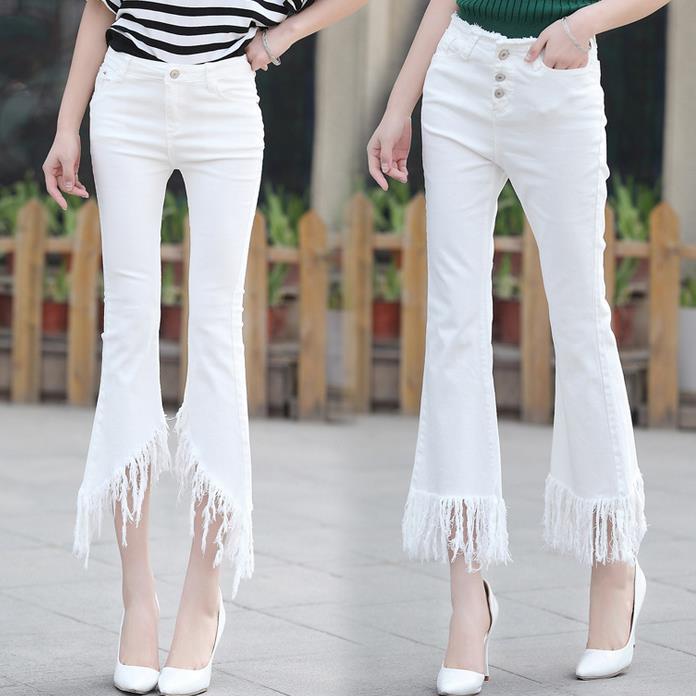 2017 spring summer new capris jeans women flare white elastic pants tassels edges irregularОдежда и ак�е��уары<br><br><br>Aliexpress