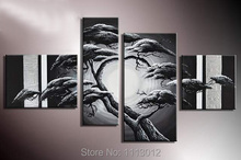 Abstract Silver Black China Welcome Pine Oil Painting Handpainted 4 Panel Art Set Home Decor Modern Wall Picture For Living Room(China)