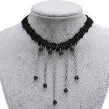 Black Lace Chain Clavicle Necklace Natural Crystal Beads Short Necklace Accessories Dating Women Love Sexy Lace Necklace Jewelry(China)